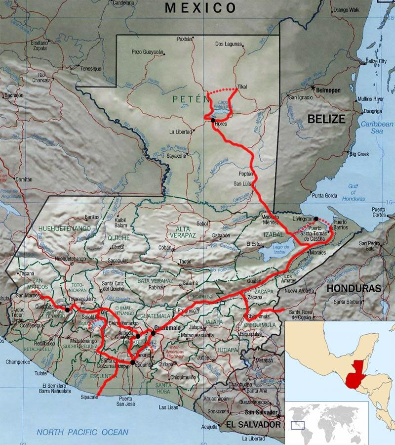 Guatemala Karte.Guatemala Karte